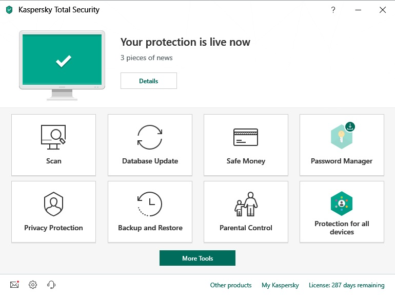 Kaspersky Total Security 2019 features