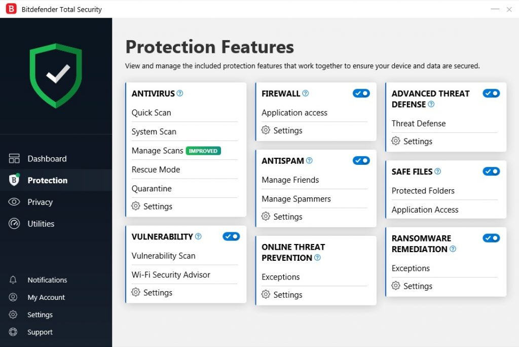 Bitdefender Total Security 2019 protection options