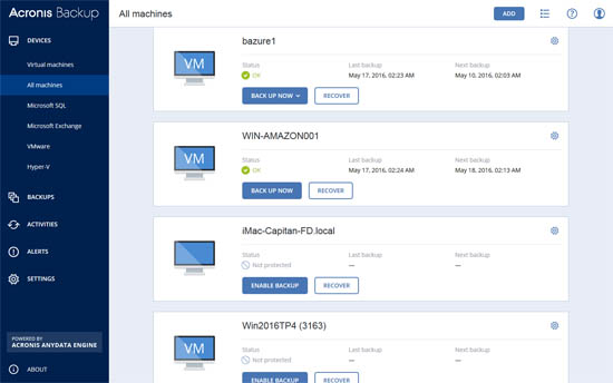 acronis backup server for windows screenshot