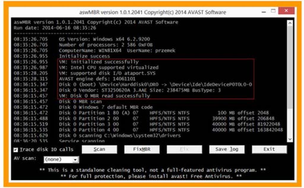 aswMBR Rootkit Scanner