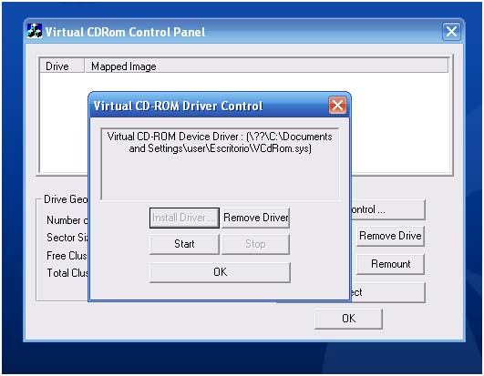 Microsoft virtual CD-ROM control panel