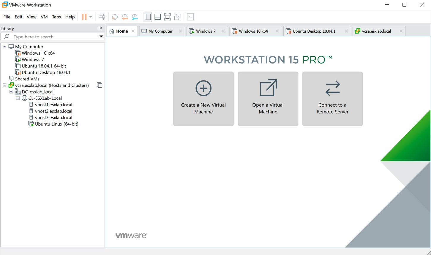 vmware workstation 15 user interface