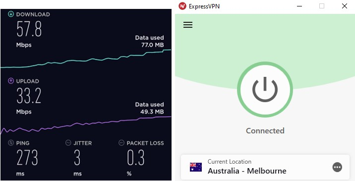 ExpessVPN Australia server speed test