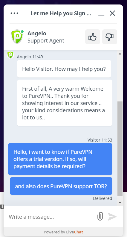 PureVPN chat 1