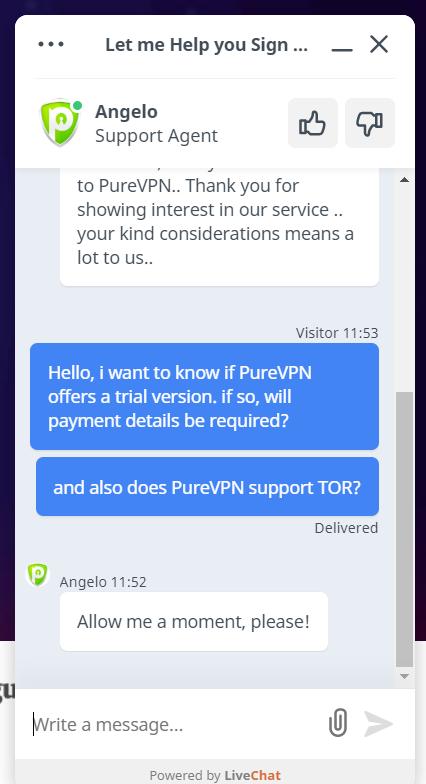PureVPN chat 2