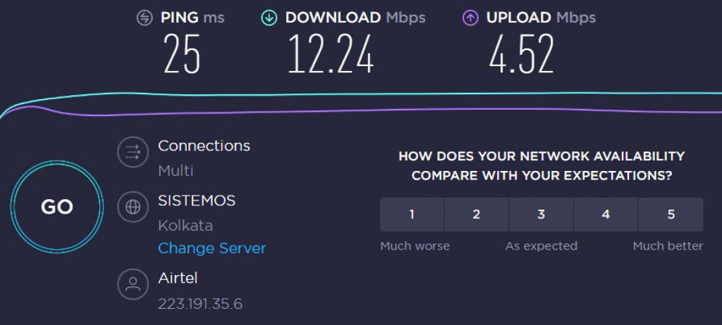 CyberGhost ISP speed without VPN