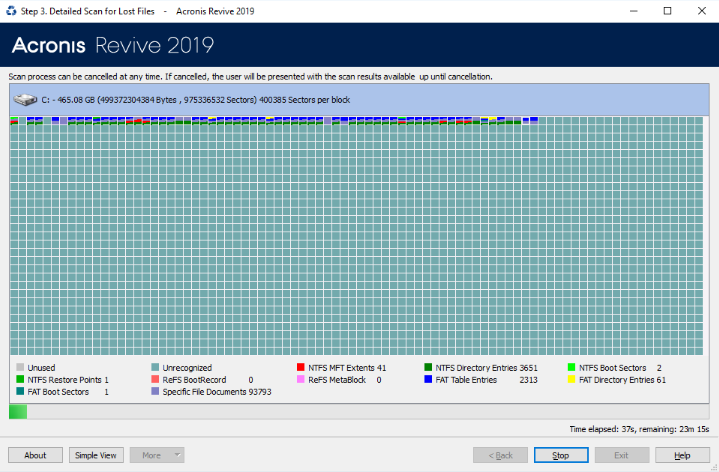Acronis Revive 2019 detailed scan for lost files
