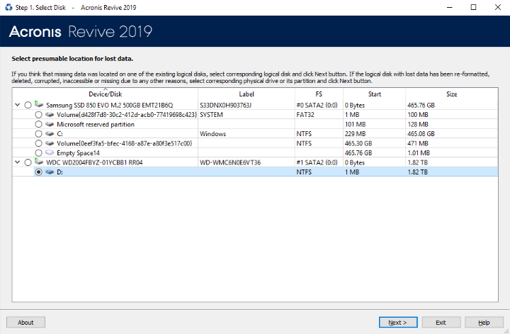 Acronis Revive 2019 interface