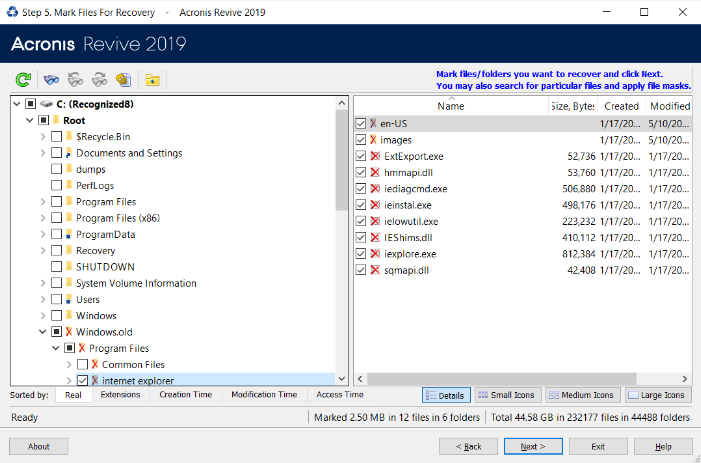 Acronis Revive 2019 mark files for recover