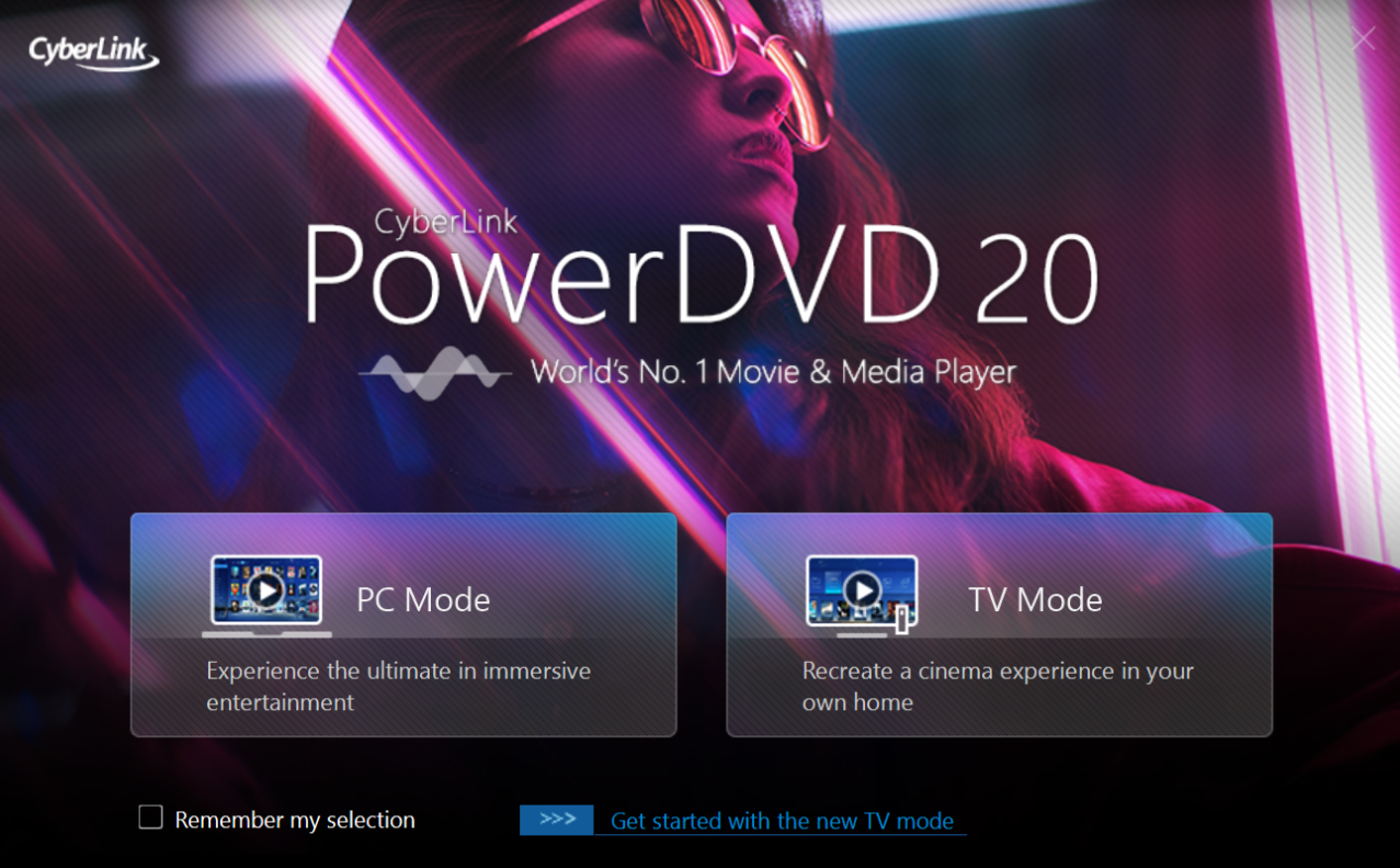 CyberLink PowerDVD 20 Modes