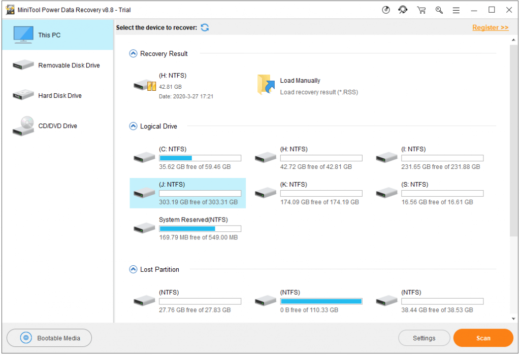 Minitool Power Data Recovery Personal Ultimate step 1