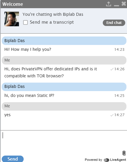 PrivateVPN Live Chat 1
