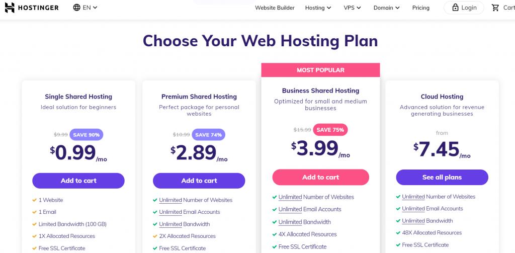 Hostinger Web Hosting Plans