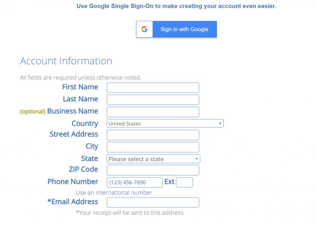 BlueHost create account tutorial step 3