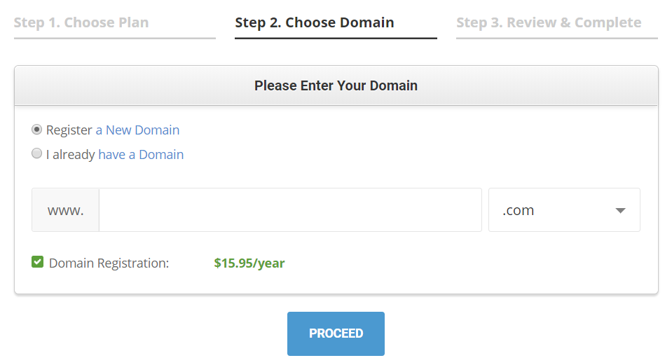 SiteGround register a domain tutorial step 4