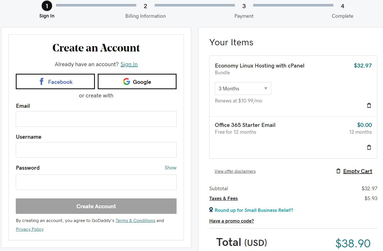 GoDaddy create account tutorial step 4