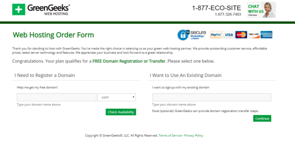 GreenGeeks tutorial step 2 register domain